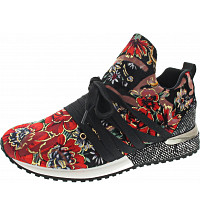 LA STRADA - Slipper - velvet black-red flower