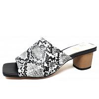 LA STRADA - la strada mule on heel - Pantolette - snake black/ white