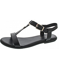 TOMMY HILFIGER - Leather Flat Sandal - Sandalette - black