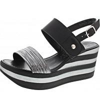 TAMARIS - Sandalette - BLK/PEWTER STR