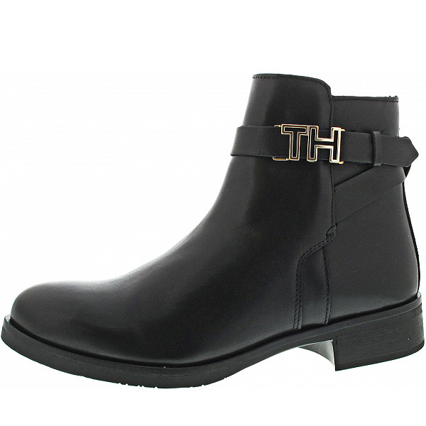 Tommy Hilfiger Hardware Leather Flatboot Stiefelette black