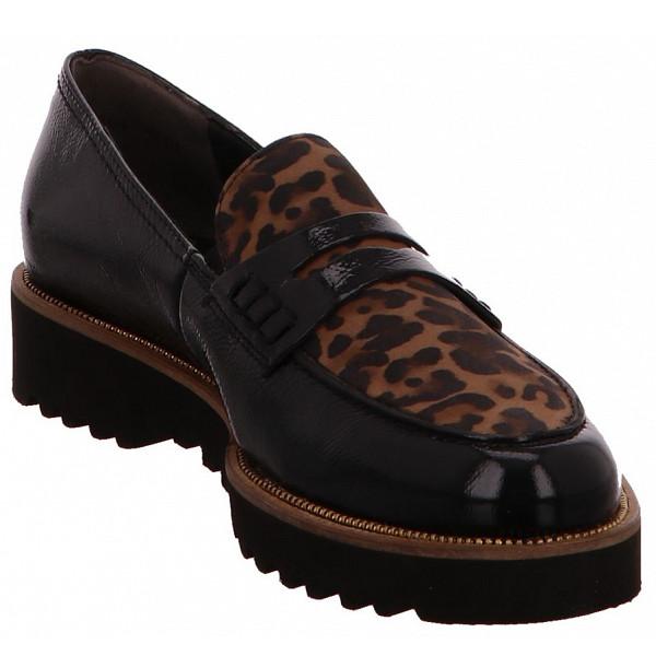Paul Green 1011 Slipper Schwarz/Leopard-Muster